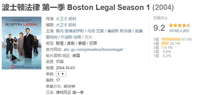 波士顿法律-豆瓣评分
